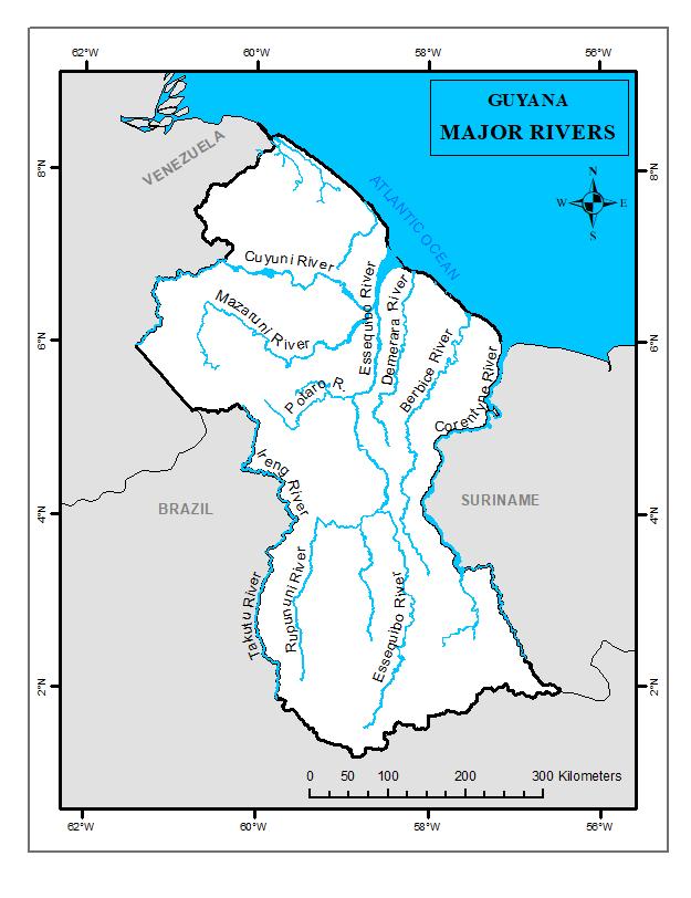 Major Rivers Guyana