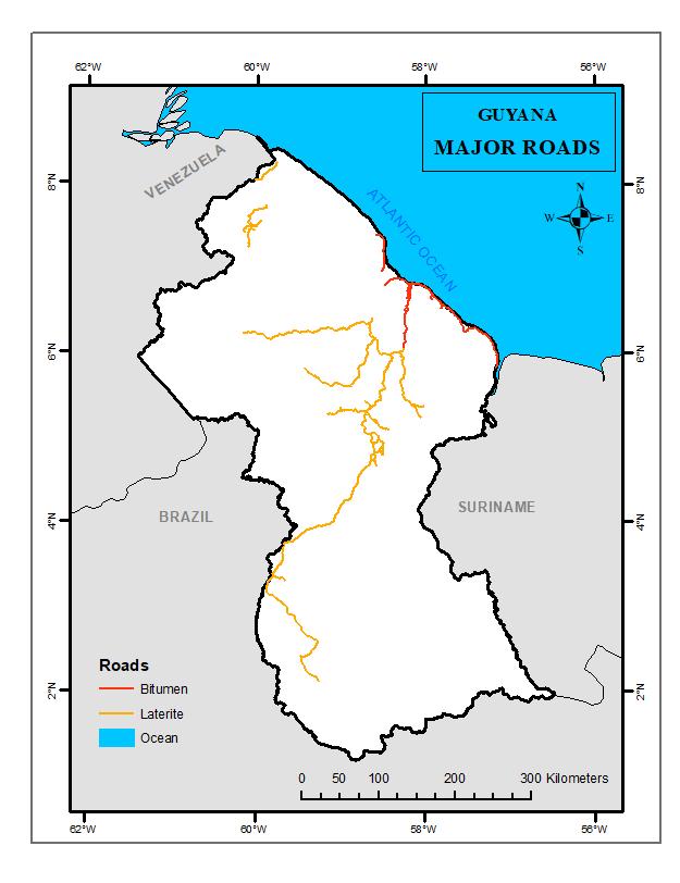 Major Roads Guyana